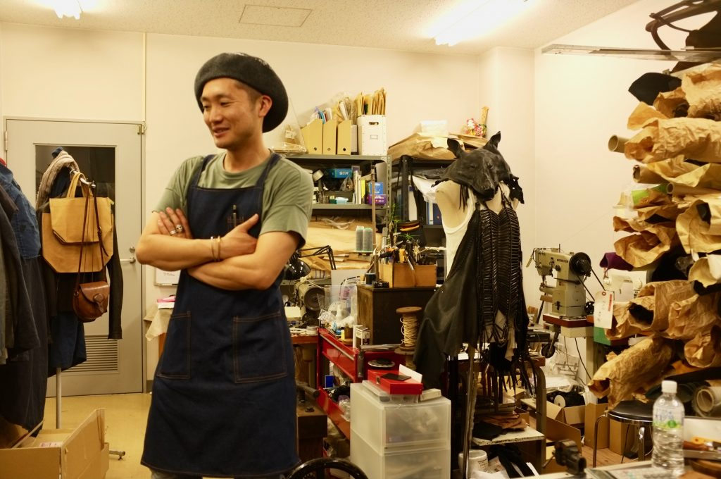 Takamisawa at his cozy workshop